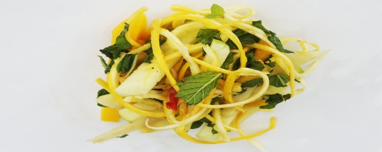 Mango Apple and Courgette Salad - Plant based whole food