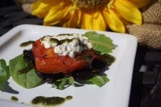 Baked mushroom stuffed with goats cheese drizzled with pesto - Plant based whole food