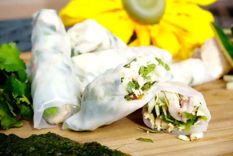 A Delcious and Healthy Vietnamese Chicken Spring Rolls With Coriander Sauce Recipe - Plant based whole food