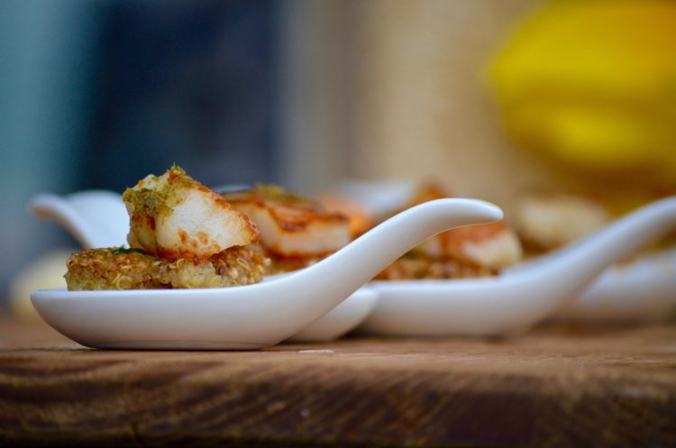 Seared Scallop on a Thai Shrimp & Quinoa Cake