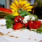 Compressed Watermelon and Goats Cheese Salad with Blackberry Vinaigrette