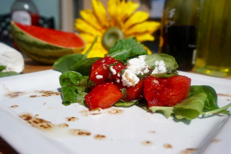 Quick, easy and healthy - compressed watermelon with goats cheese - Plant based whole food