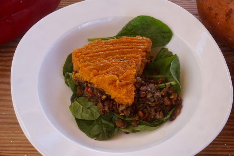Cheesy sweet potato, veggies and lentils