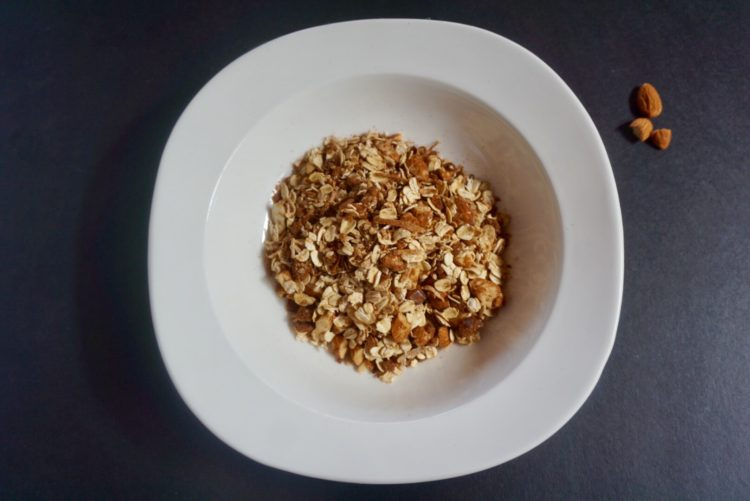 homemade luxurious almond and date muesli - Plant based whole food